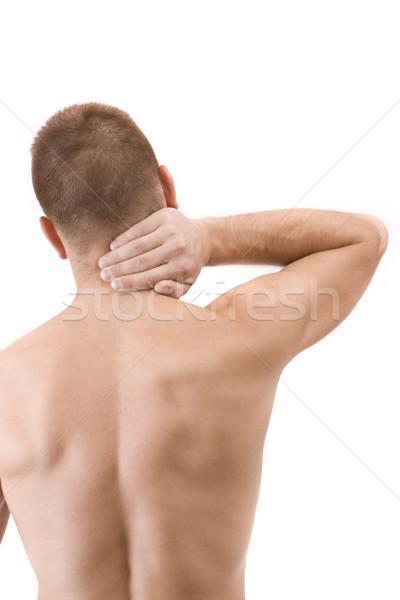 Człowiek ból szyi młody człowiek odizolowany biały strony Zdjęcia stock © grafvision