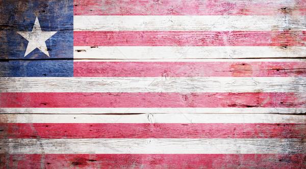 Bandeira Libéria pintado sujo madeira Foto stock © grafvision