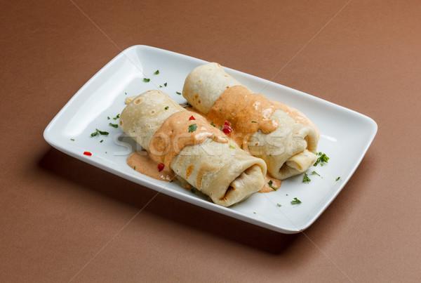 Roulé viande alimentaire déjeuner repas Photo stock © grafvision
