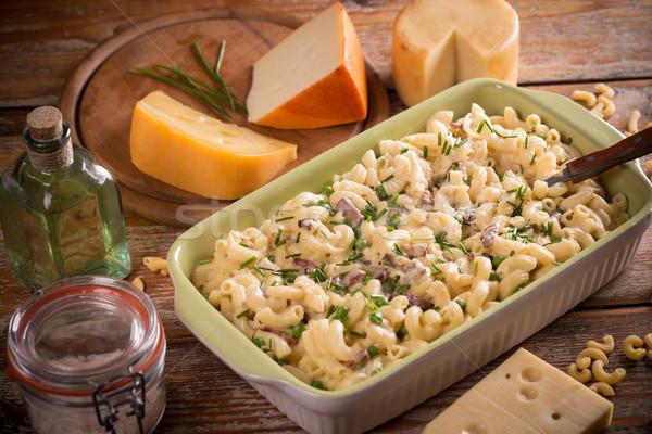 Foto d'archivio: Maccheroni · formaggio · fatto · in · casa · ciotola · pasta · piatto
