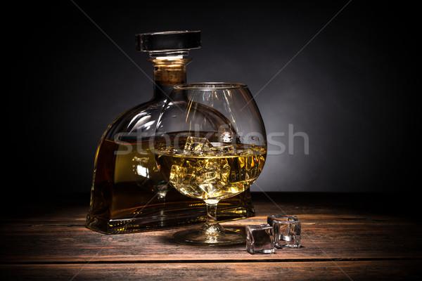 Cognac verre rustique table en bois fond boire Photo stock © grafvision