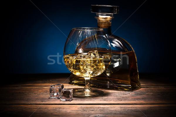 Brandewijn glas fles partij achtergrond drinken Stockfoto © grafvision
