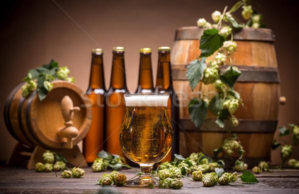 Martwa natura piwa świeże szkła pić vintage Zdjęcia stock © grafvision