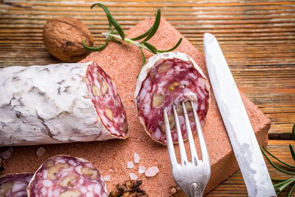 サラミ 素朴な 肉 白 ストックフォト © grafvision