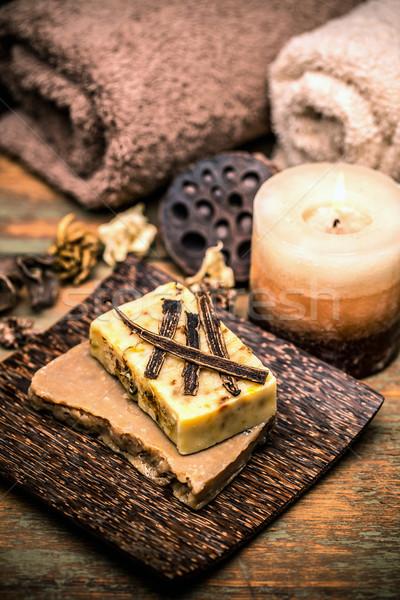 バニラ ハンドメイド 石鹸 キャンドル タオル ボディ ストックフォト © grafvision