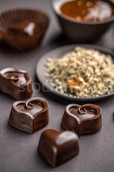 Heart shaped chocolate sweets Stock photo © grafvision
