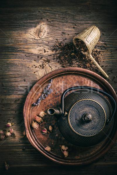 Top view of iron asian tea set Stock photo © grafvision