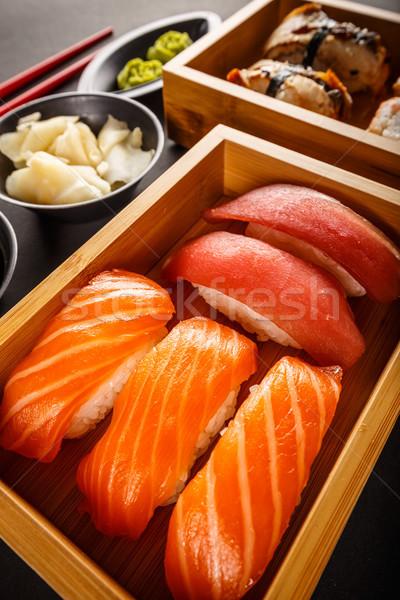 Sashimi sushi ayarlamak soya zencefil arka plan Stok fotoğraf © grafvision