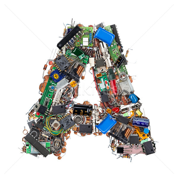 Letter A made of electronic components Stock photo © grafvision