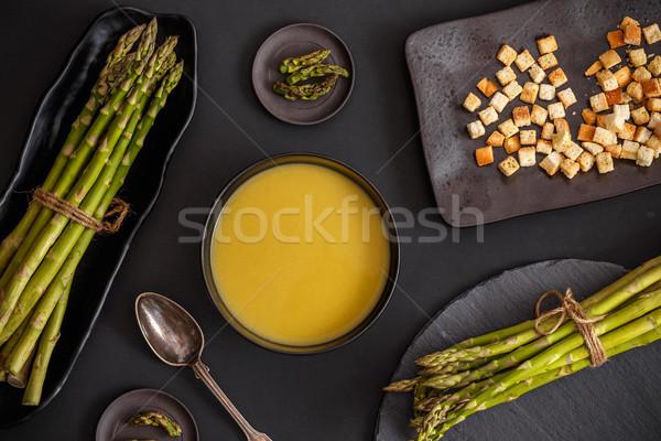 Krémes spárga leves fekete kenyér forró Stock fotó © grafvision