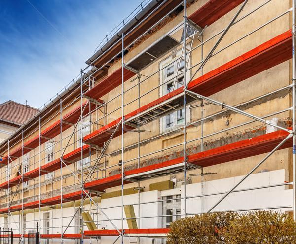 Construcción andamio edificio pared casa Foto stock © grafvision
