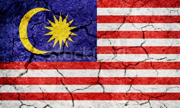 Malásia bandeira secar terra terreno textura Foto stock © grafvision