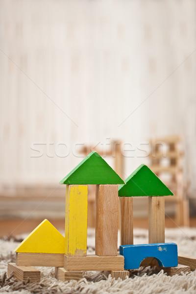 Stock fotó: Fa · játék · kockák · építkezés · szőnyeg · fa · oktatás