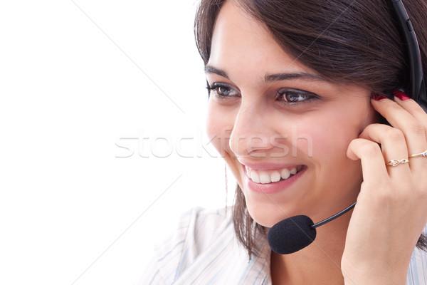 Genç kadın operatör kulaklık Stok fotoğraf © grafvision