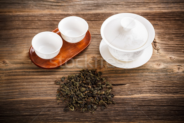 Çin çanak eski ahşap masa ahşap tablo Stok fotoğraf © grafvision