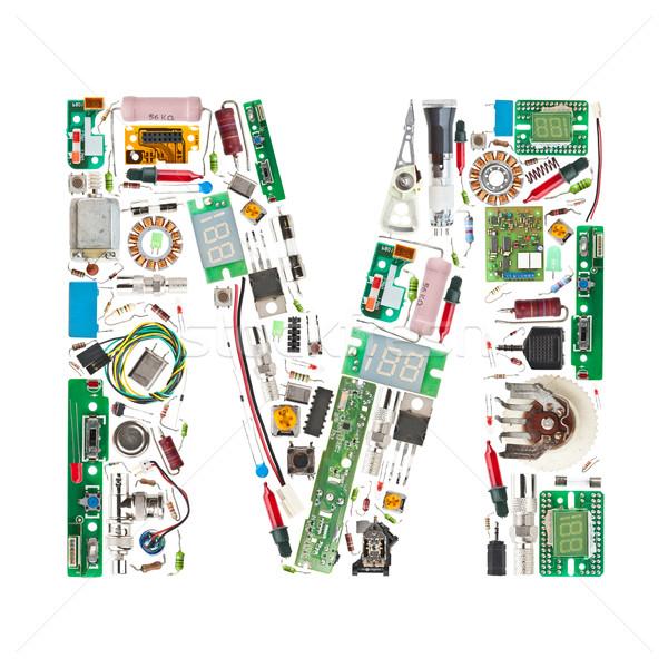 Eletrônico componentes carta letra m isolado branco Foto stock © grafvision