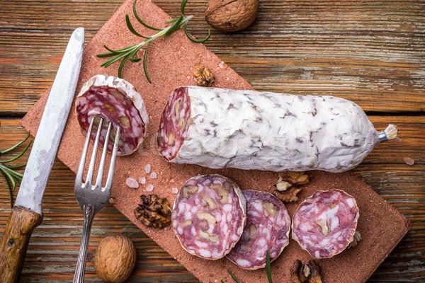Francês salame mesa de madeira madeira fundo Foto stock © grafvision