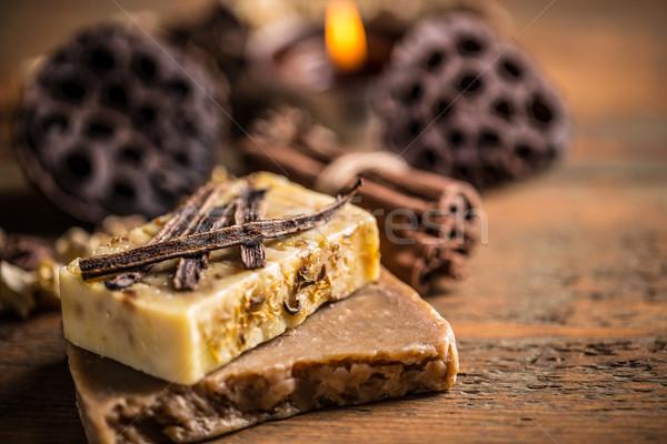 Handgemaakt zeep vanille natuur spa bad Stockfoto © grafvision