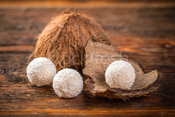 Palla di neve bianco cioccolato cocco alimentare sfondo Foto d'archivio © grafvision