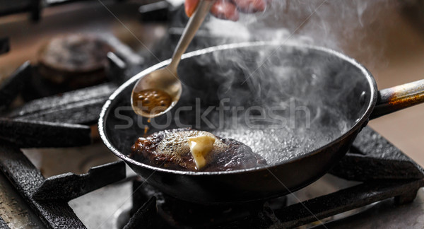 Beef meat in a frying pan Stock photo © grafvision