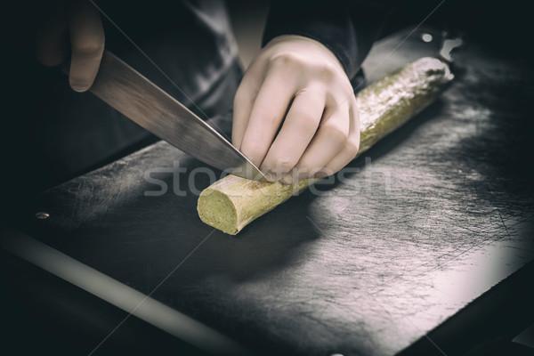 シェフ バター 黒 まな板 朝食 ストックフォト © grafvision