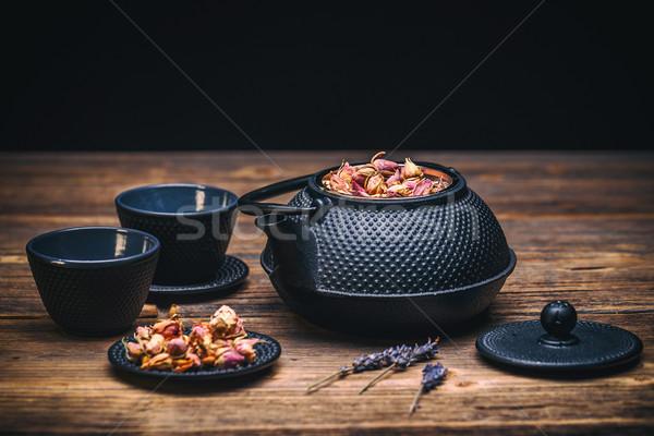 Tetera imagen tradicional oriental escritorio Foto stock © grafvision