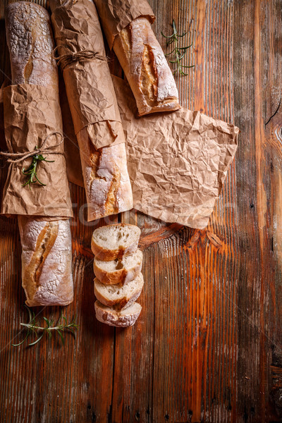 Top view of French baguettes Stock photo © grafvision