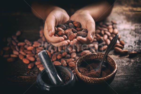Foto stock: Mão · tiro · chocolate