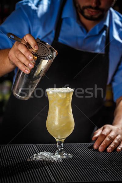 Bartender preparing pina colada cocktail Stock photo © grafvision