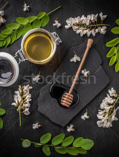 Jar Honig Blumen Essen Glas Hintergrund Stock foto © grafvision