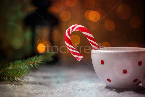 Snoep riet christmas ruimte gelukkig sneeuw Stockfoto © grafvision