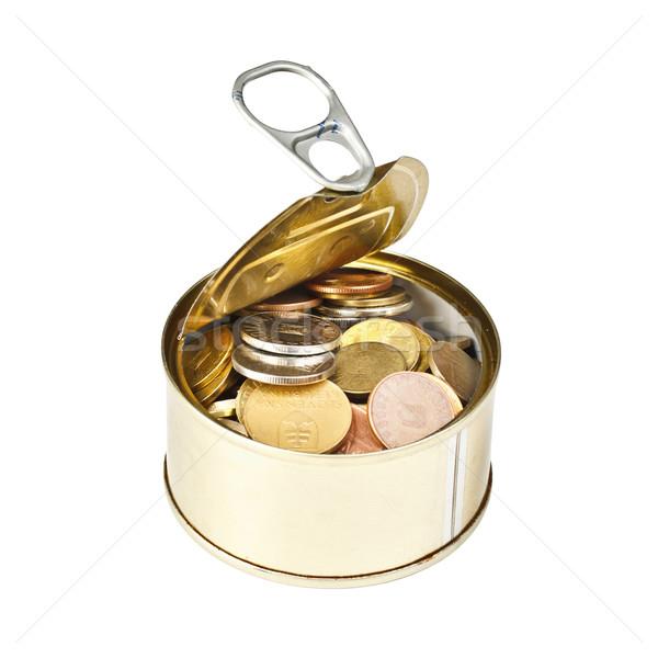 Monet otwarte cyna puszka biały ceny Zdjęcia stock © grafvision
