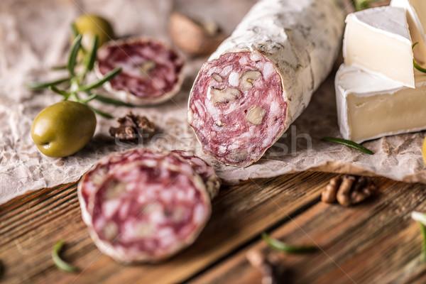 Salam fransız ceviz rustik gıda et Stok fotoğraf © grafvision