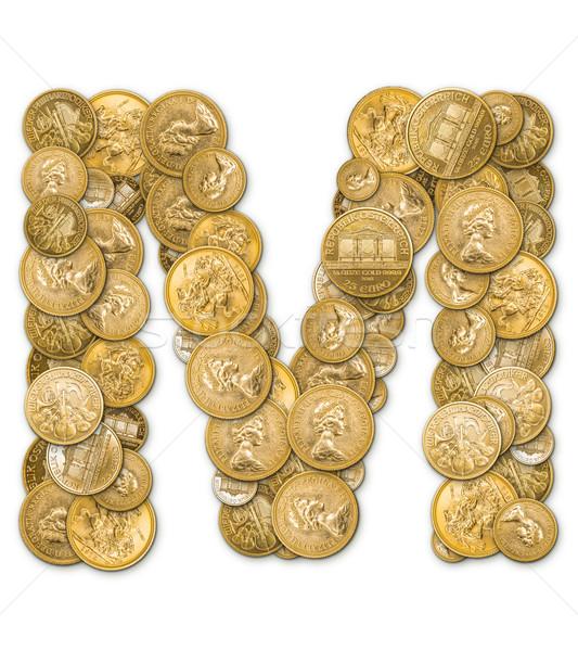 Mektup m altın madeni para yalıtılmış beyaz Metal Stok fotoğraf © grafvision