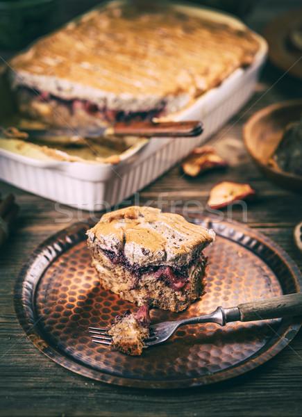 Jabłko chleba pudding naczyń mleka Zdjęcia stock © grafvision