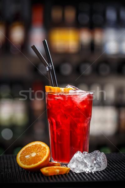 Rood bessen soda drinken Ice Cube ingericht Stockfoto © grafvision