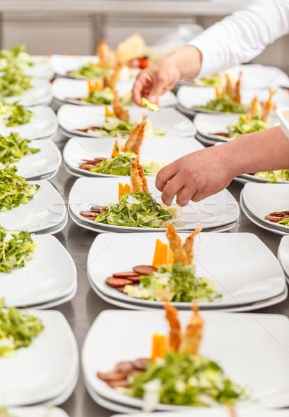 Finom előétel edények étterem konyha tábla Stock fotó © grafvision