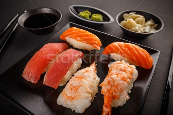 Közelkép sashimi szusi szett szójaszósz wasabi Stock fotó © grafvision