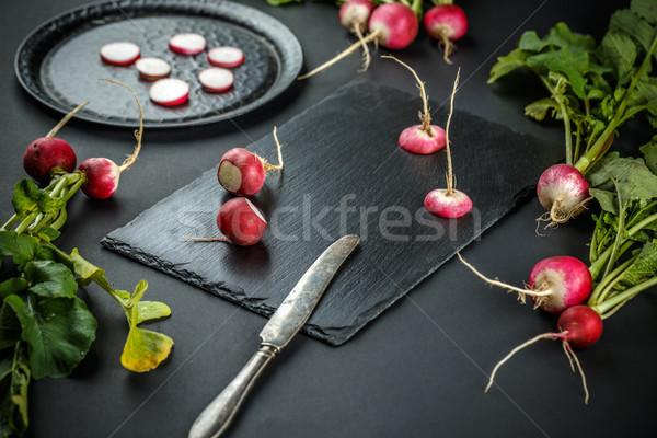 редис черный фон красный растительное Сток-фото © grafvision