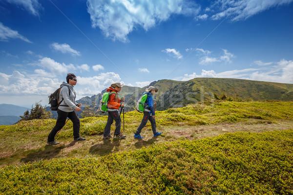 Nordic walk on the mountain road Stock photo © grafvision