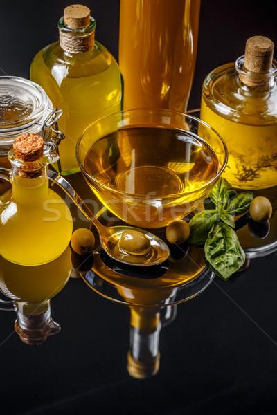 ストックフォト: オリーブオイル · ヴィンテージ · ボトル · ボウル · 緑 · オリーブ