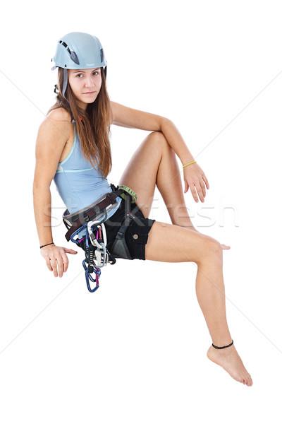 Tırmanma kadın oturma afiş çekici mutlu Stok fotoğraf © grafvision