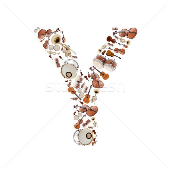 Muziekinstrumenten brief alfabet witte boom gitaar Stockfoto © grafvision