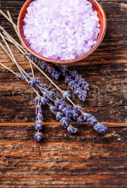 Levendula fürdősó tál természet szépség gyógyszer Stock fotó © grafvision