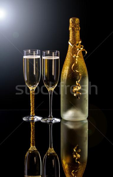 Stok fotoğraf: şampanya · tatil · şişe · iki · cam · parti