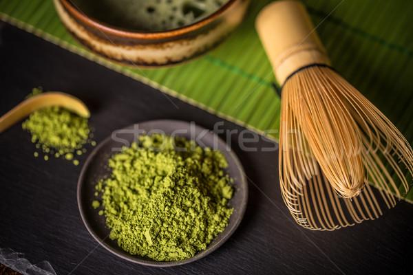Pó chá verde preto prato madeira fundo Foto stock © grafvision
