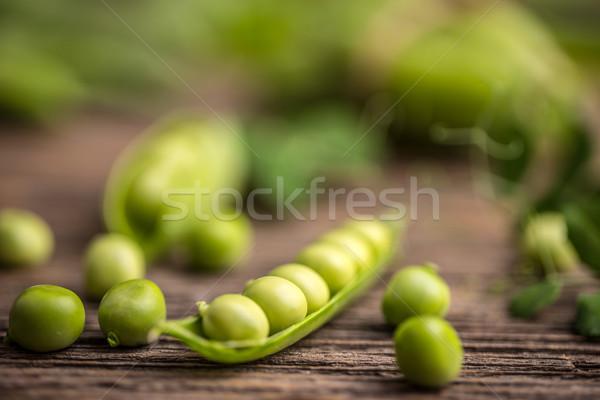 綠色 豌豆 木 食品 復古 蔬菜 商業照片 © grafvision