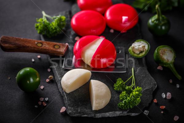 チーズ 赤 ワックス 木製 食品 ミルク ストックフォト © grafvision