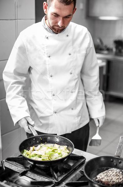 Chef cooking garnish Stock photo © grafvision