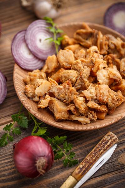 Stock fotó: Köteg · fából · készült · tányér · étel · hagyma · egészségtelen